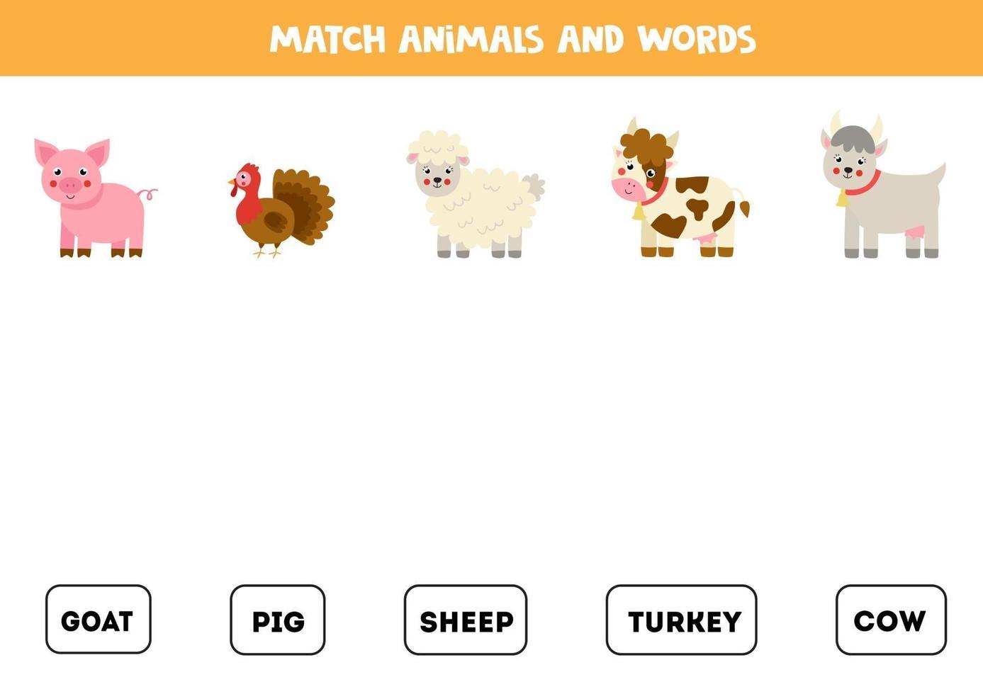 bijpassende boerderijdieren en de woorden. educatief spel voor kinderen. vector