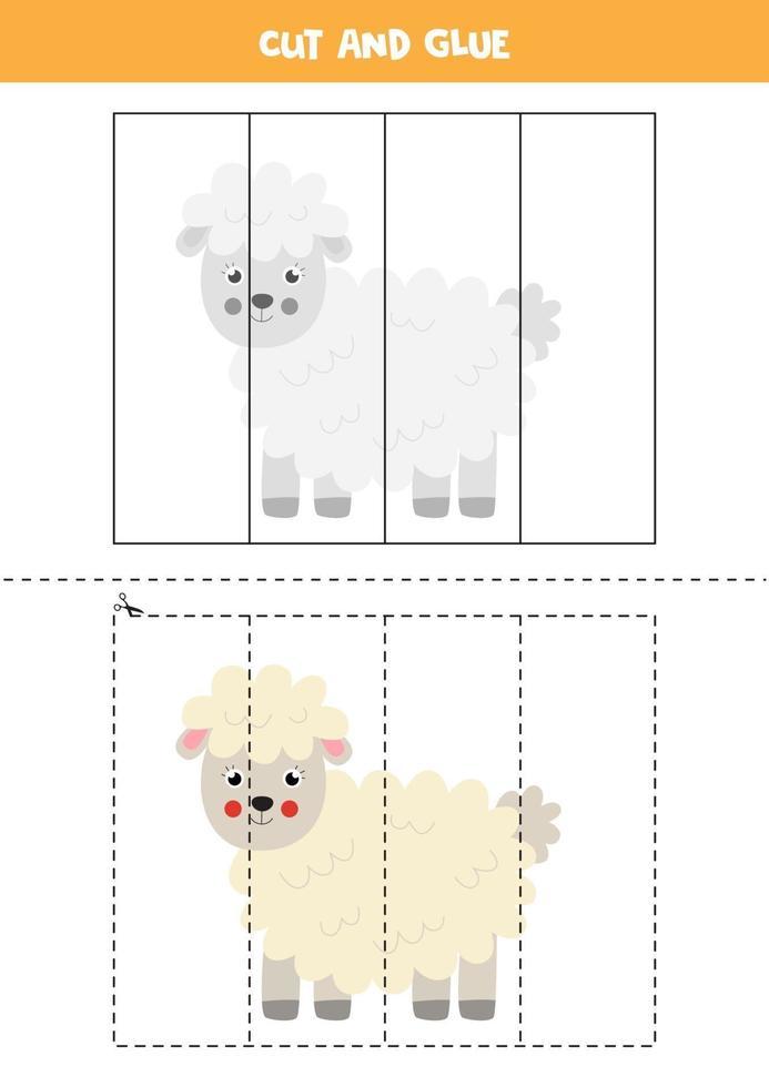knip en lijm spel voor kinderen. schattige boerderij schapen. vector