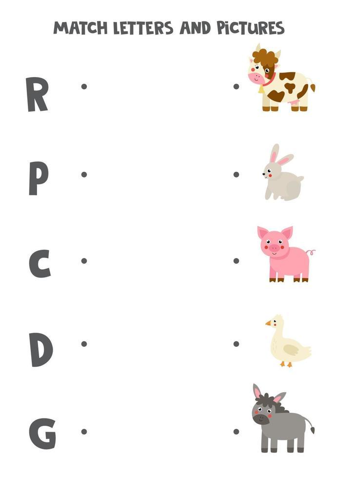 match boerderijdieren en beginnende geluiden. spel voor kinderen. vector