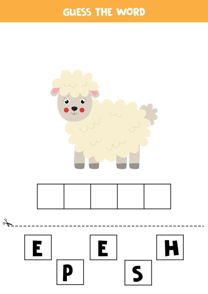 spellingsspel voor kinderen. cartoon schattige schapen. vector
