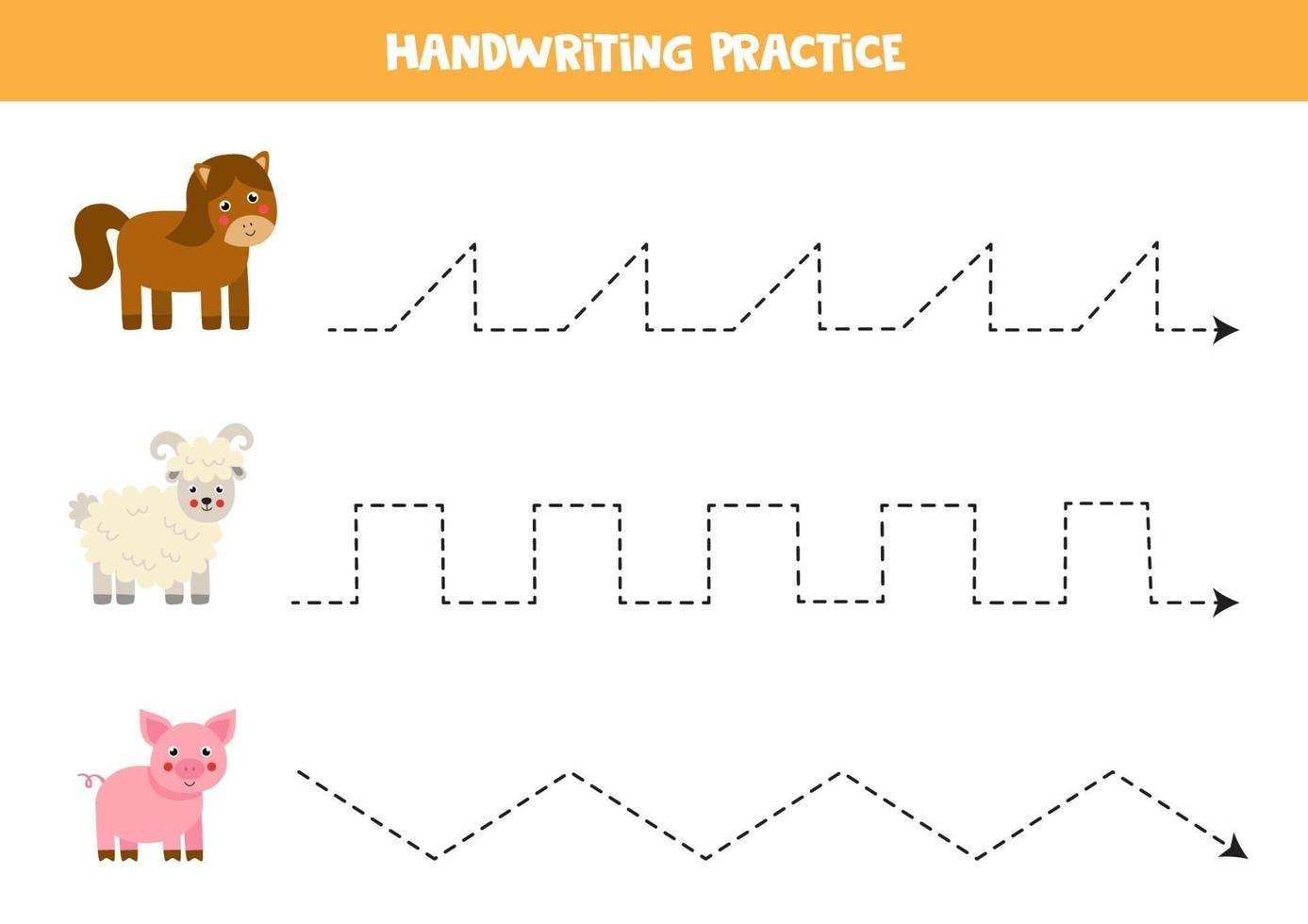 traceer de lijnen met boerderijdieren. Schrijf oefening. vector