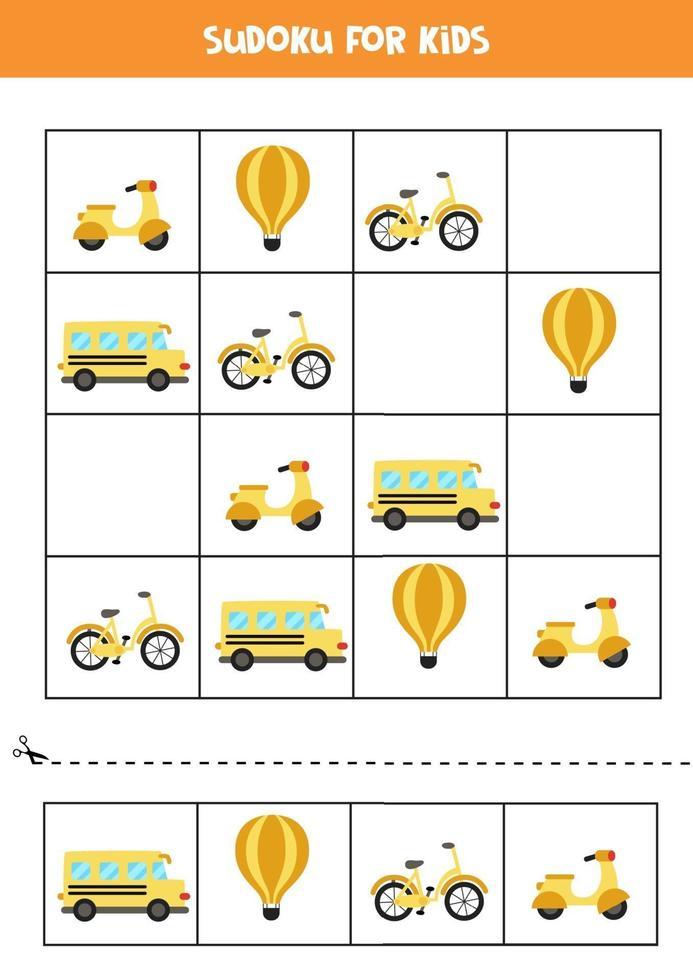 Sudoku-spel met cartoon transportmiddelen. vector