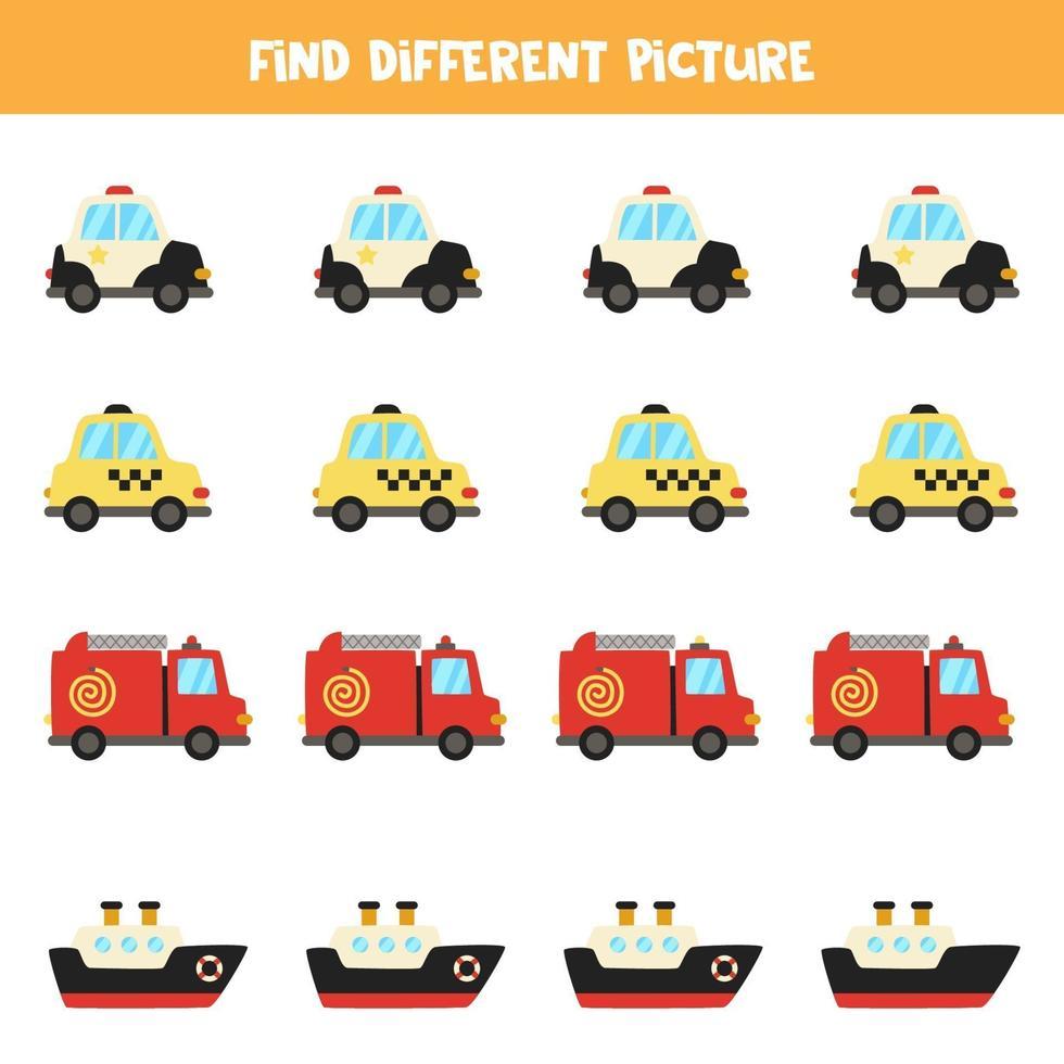 zoek vervoer dat anders is dan anderen. werkblad met transportthema. vector
