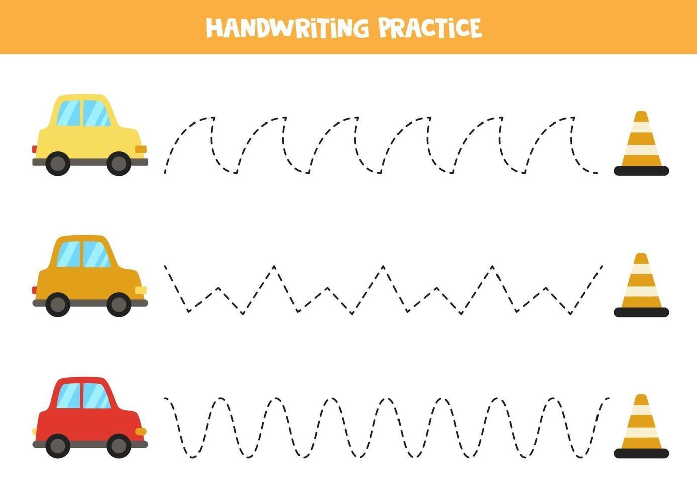 traceer de lijnen met cartoonauto's. Schrijf oefening. vector