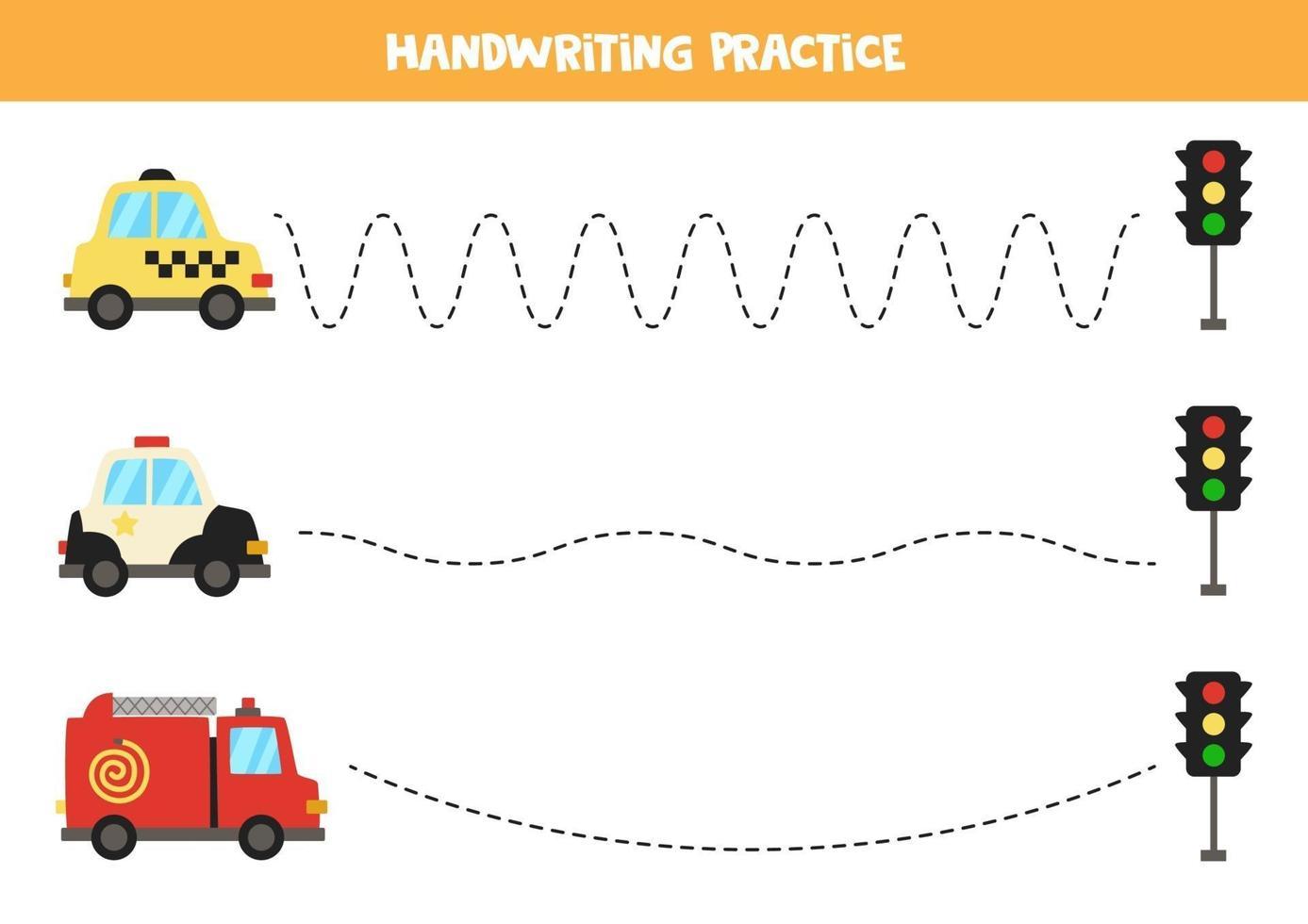 traceer de lijnen met transportmiddelen. Schrijf oefening. vector