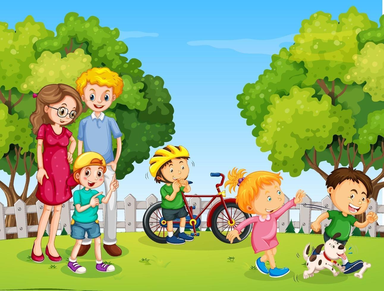parkscène met gelukkige familie en veel kinderen vector