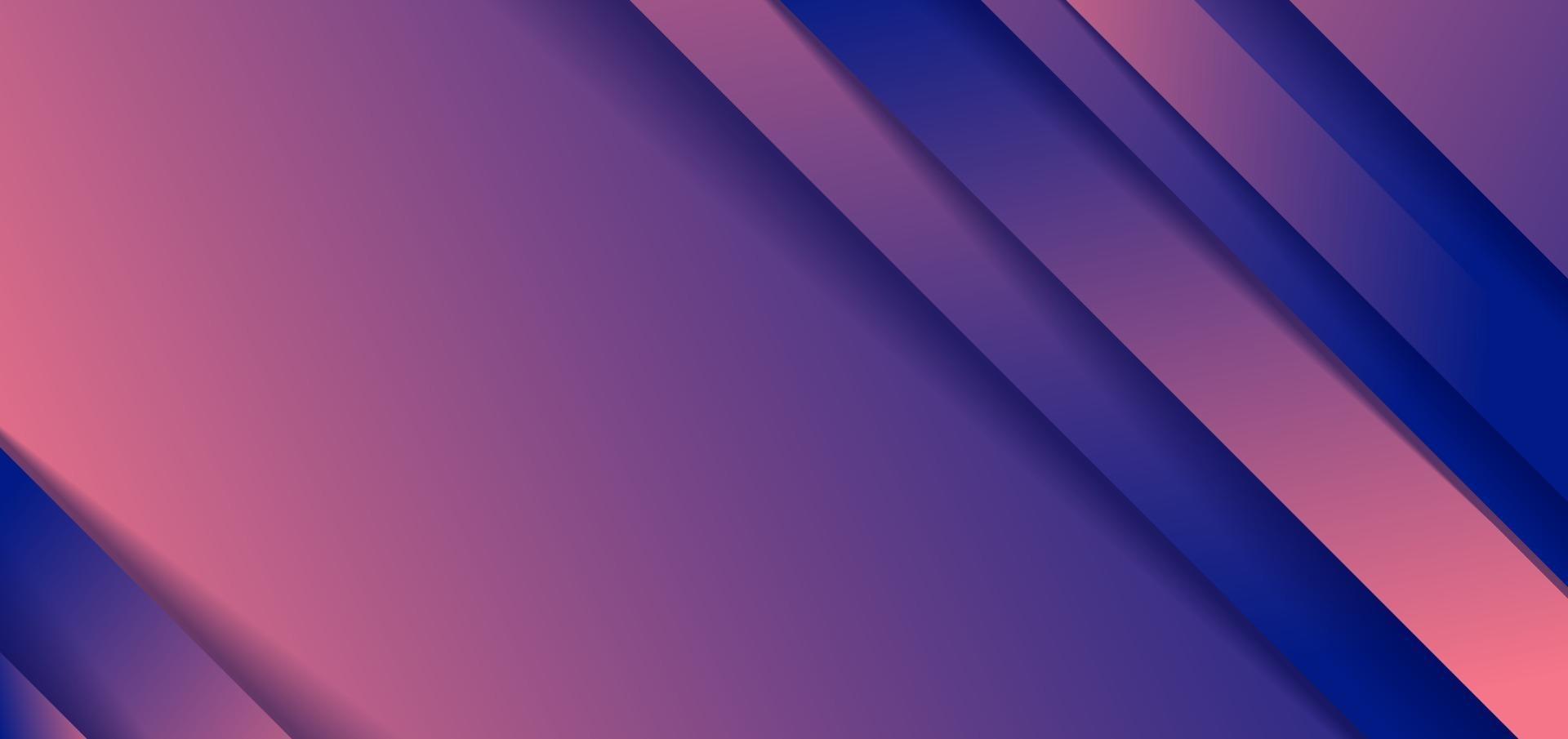abstracte diagonale strepen blauwe en roze verloopvorm achtergrond met schaduwpapier gesneden stijl vector
