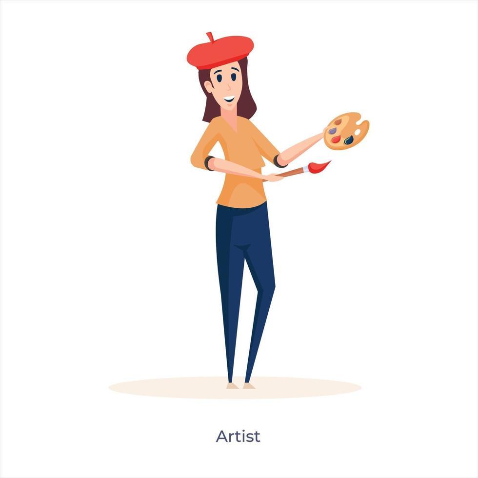 vrouwelijke schilder avatar vector