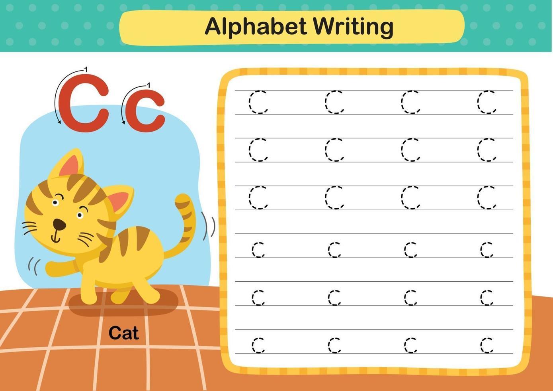 alfabet letter c-cat oefening met cartoon woordenschat illustratie, vector