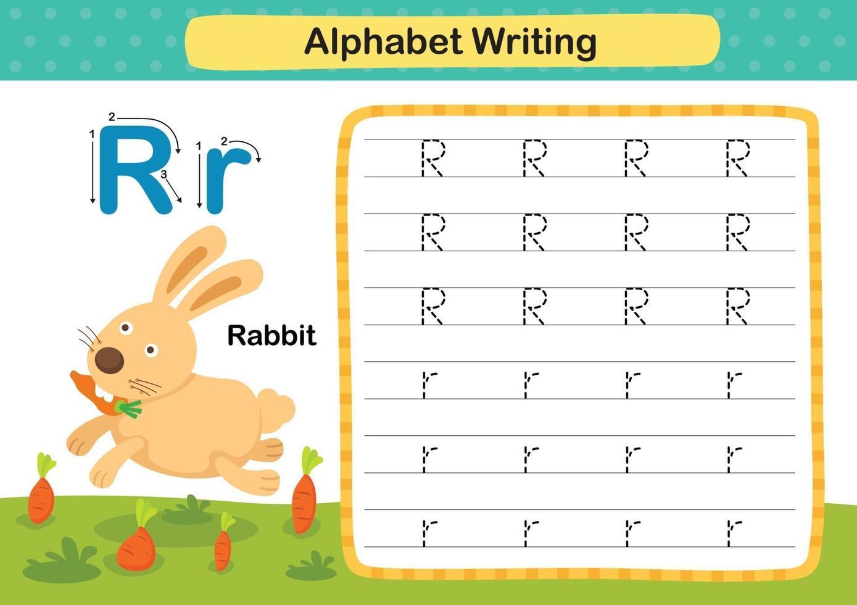 alfabet letter r-konijn oefening met cartoon woordenschat illustratie, vector