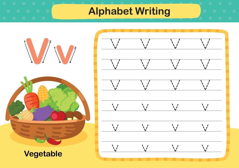 alfabet letter v-plantaardige oefening met cartoon woordenschat illustratie, vector