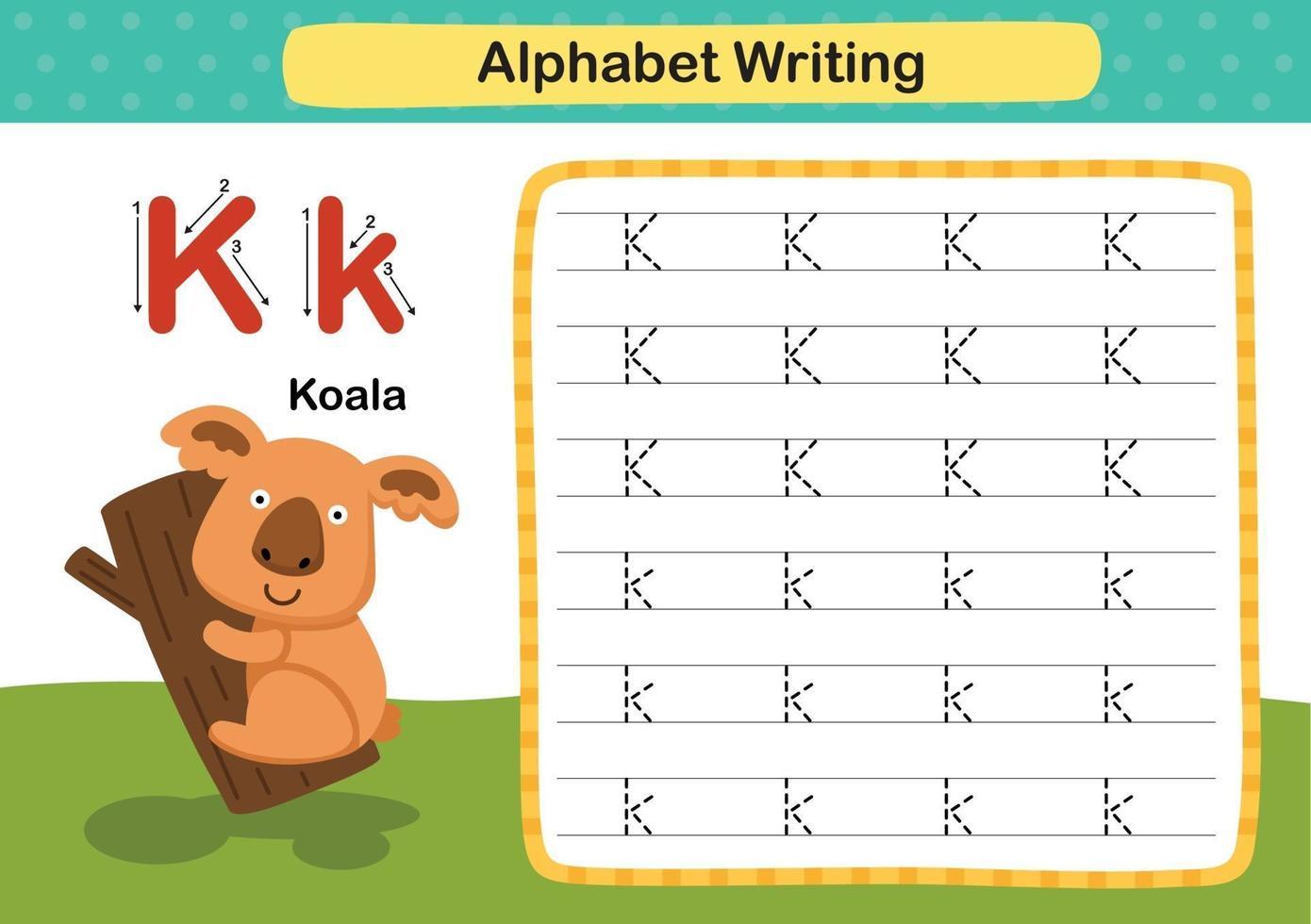 alfabet letter k-koala oefening met cartoon woordenschat illustratie, vector