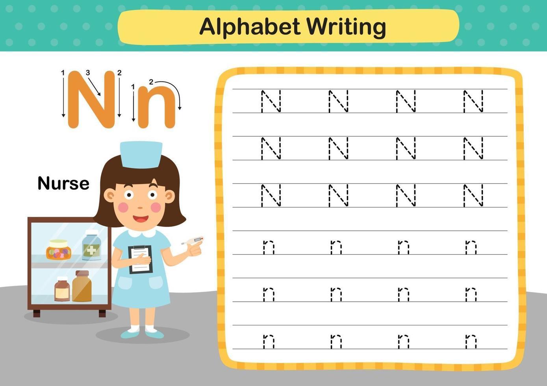 alfabet letter n-verpleegkundige oefening met cartoon woordenschat illustratie, vector