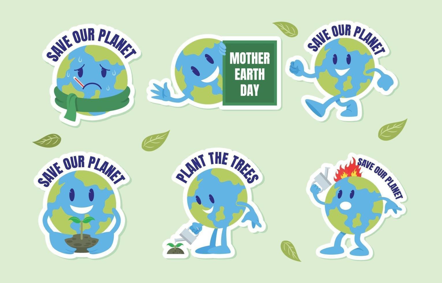 stickerpakket voor de dag van de aarde vector