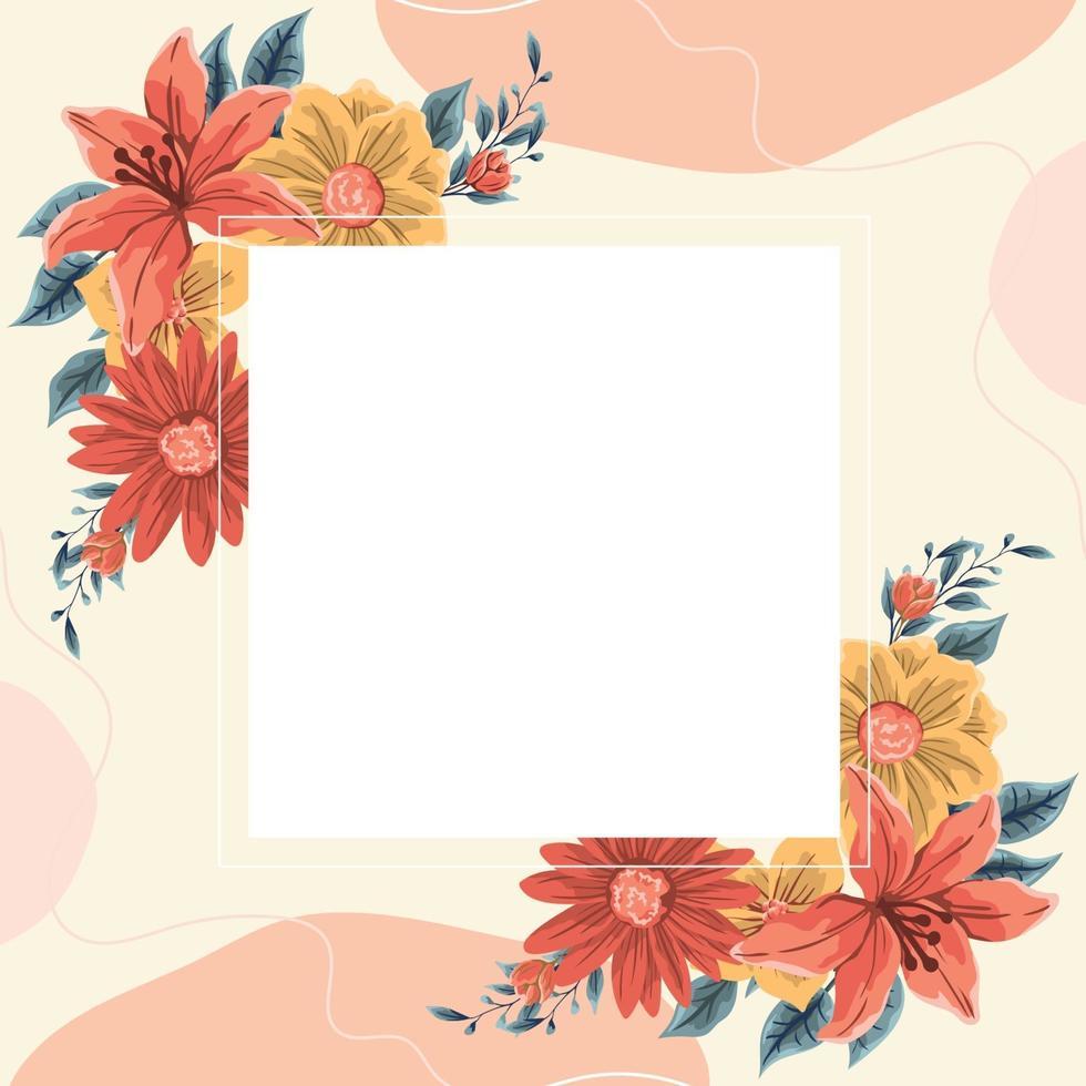 bloemen lente frame achtergrond vector