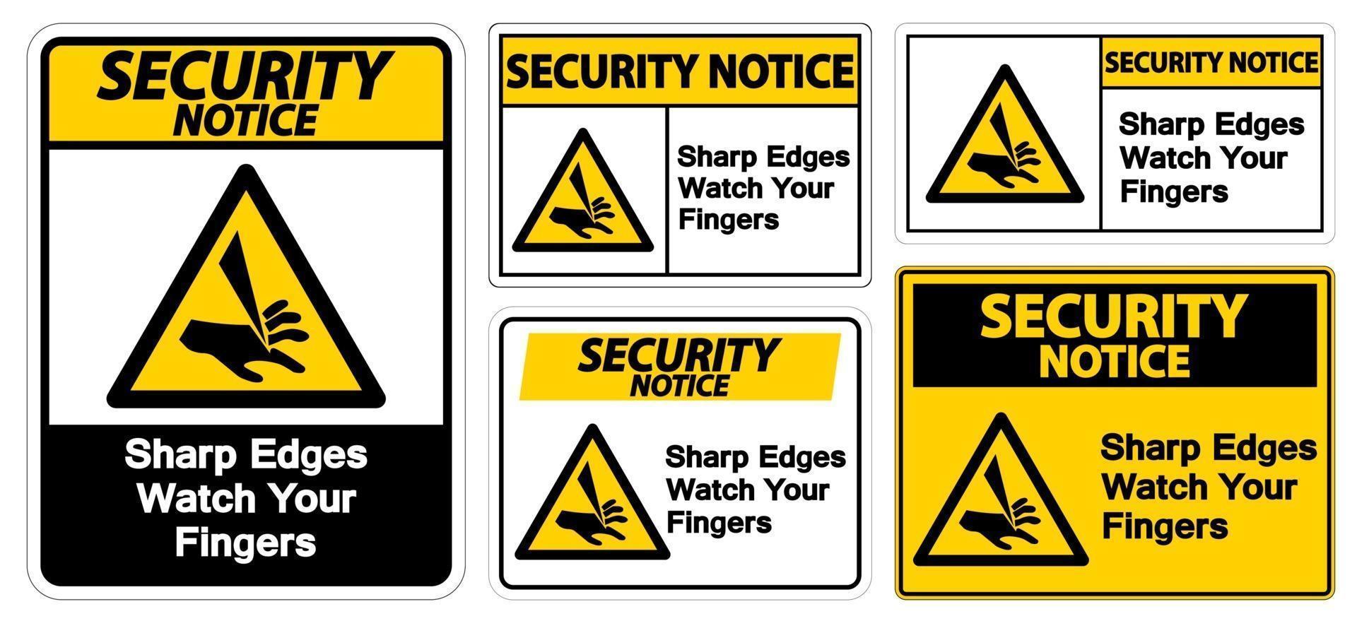veiligheidsmededeling scherpe randen let op uw vingers teken symboolset vector