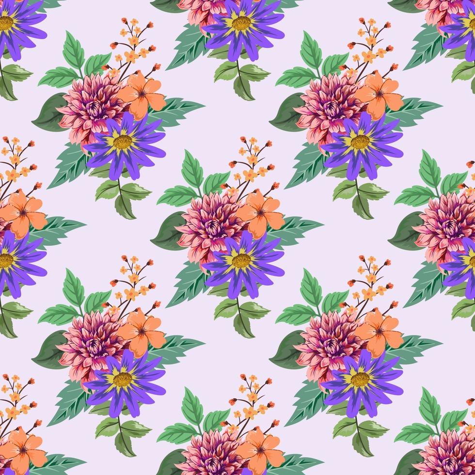 naadloos patroon met kleurrijke botanische bloemenontwerpillustratie. vector