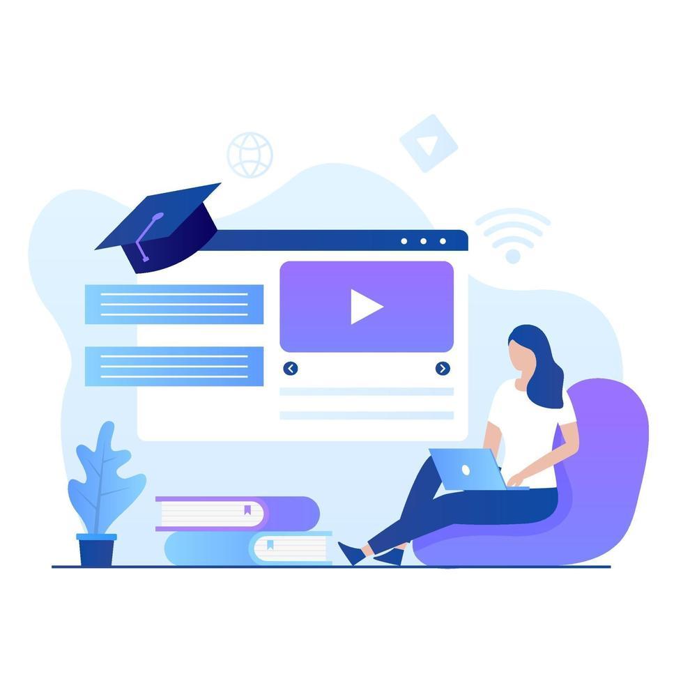 plat ontwerp van online cursussen illustratie vector