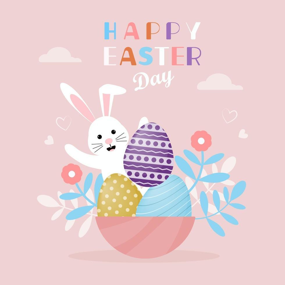 gelukkige paasdag achtergrond met schattig konijntje vector