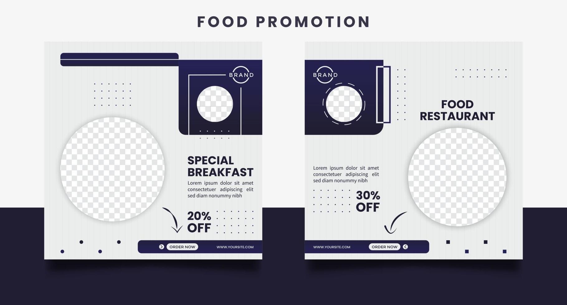 voedsel sociale media promotie en ontwerpsjablonen voor bannerberichten. vector
