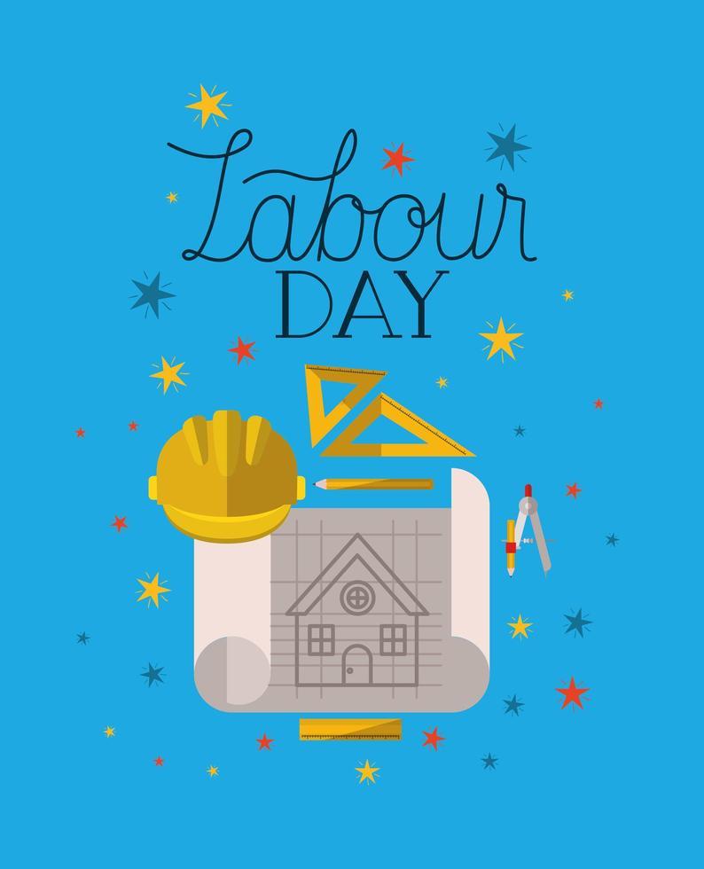 dag van de arbeid van helm en bouwgereedschap vector