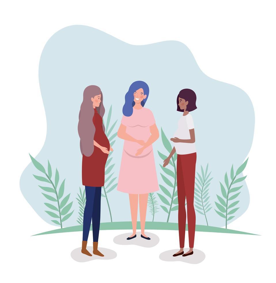 schattige interraciale zwangere vrouwen vector