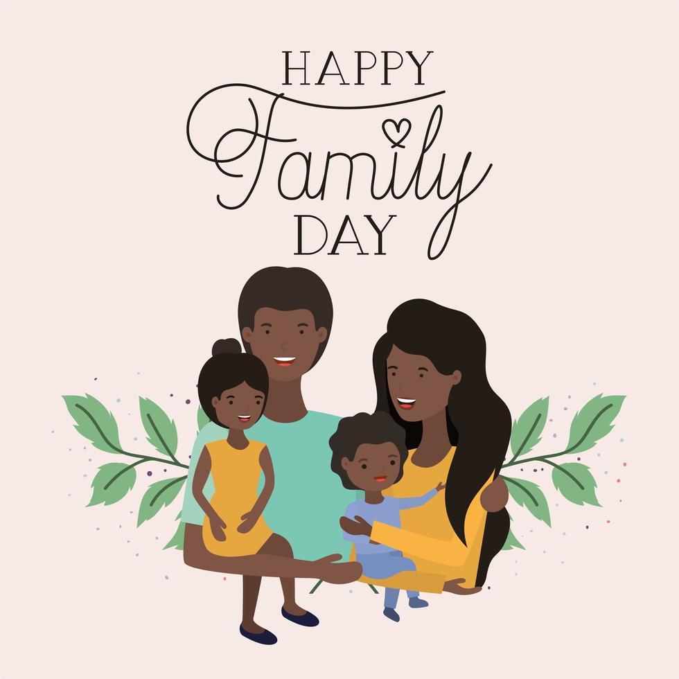 familiedagkaart met zwarte ouders en kinderen vector