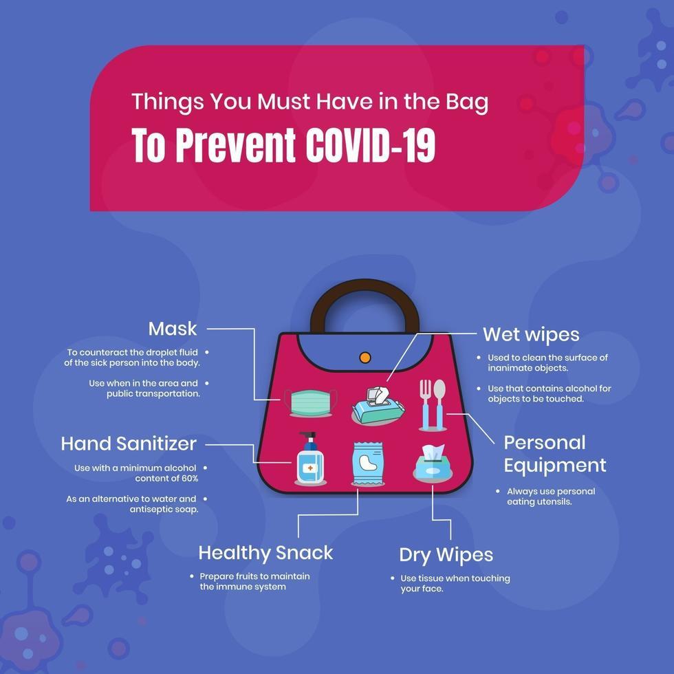 dingen die je in de tas moet hebben om covid-19 te voorkomen vector