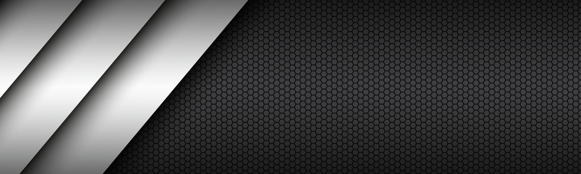 zwart en wit modern materiaalontwerp met een zeshoekige kop. bedrijfssjabloon voor uw bedrijf. vector abstracte breedbeeldbanner