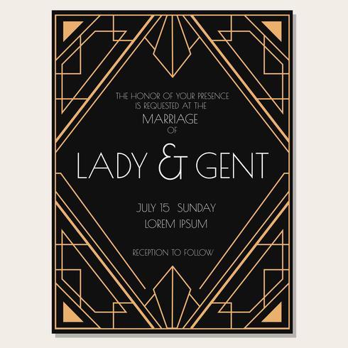 Klassieke Art Deco bruiloft uitnodiging Vector