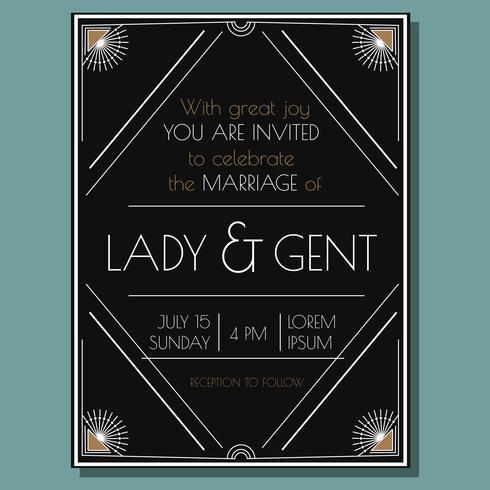 Vintage Deco huwelijksuitnodiging vector