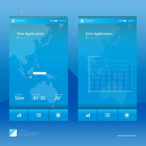 duiken mobiele applicatie illustratie. vector