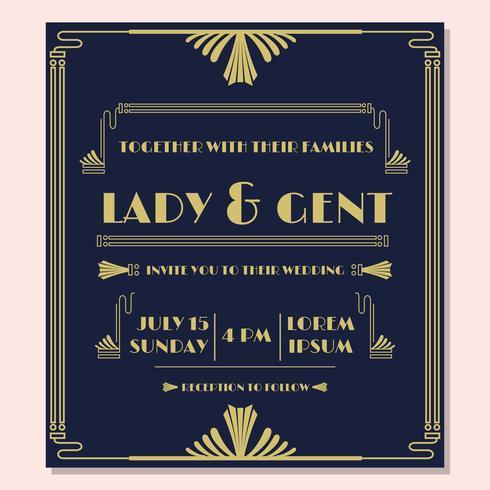 1920'S bruiloft uitnodiging Vector