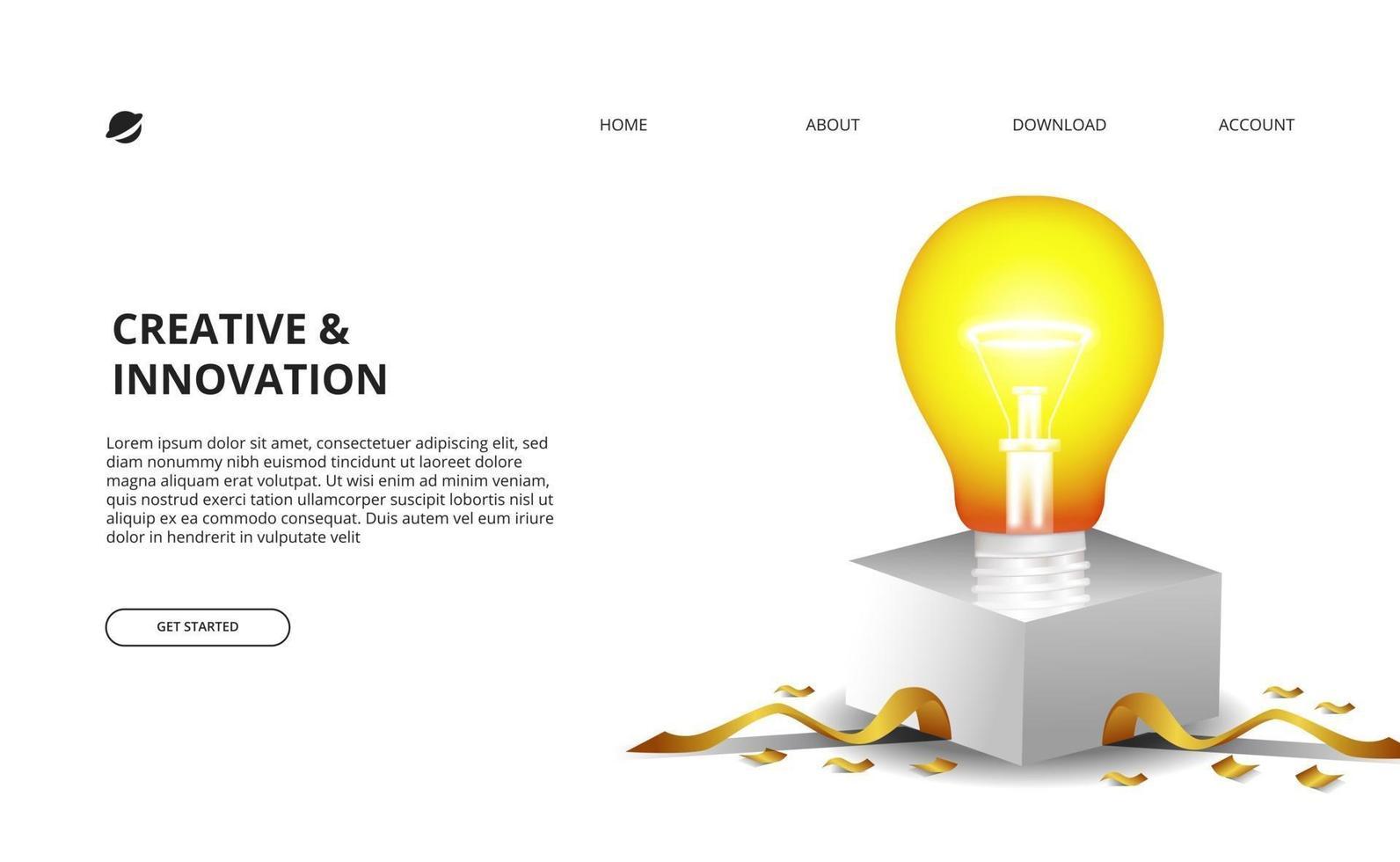 3d gloeilampgloed met witte doos en gouden confettienillustratie voor zaken, en innovatieconcept vector