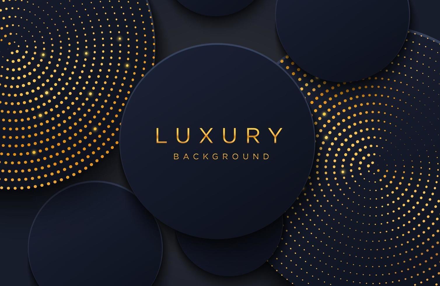 luxe elegante achtergrond met glanzend goud gestippeld patroon geïsoleerd op zwart. abstracte realistische papercut achtergrond. elegante voorbladsjabloon vector