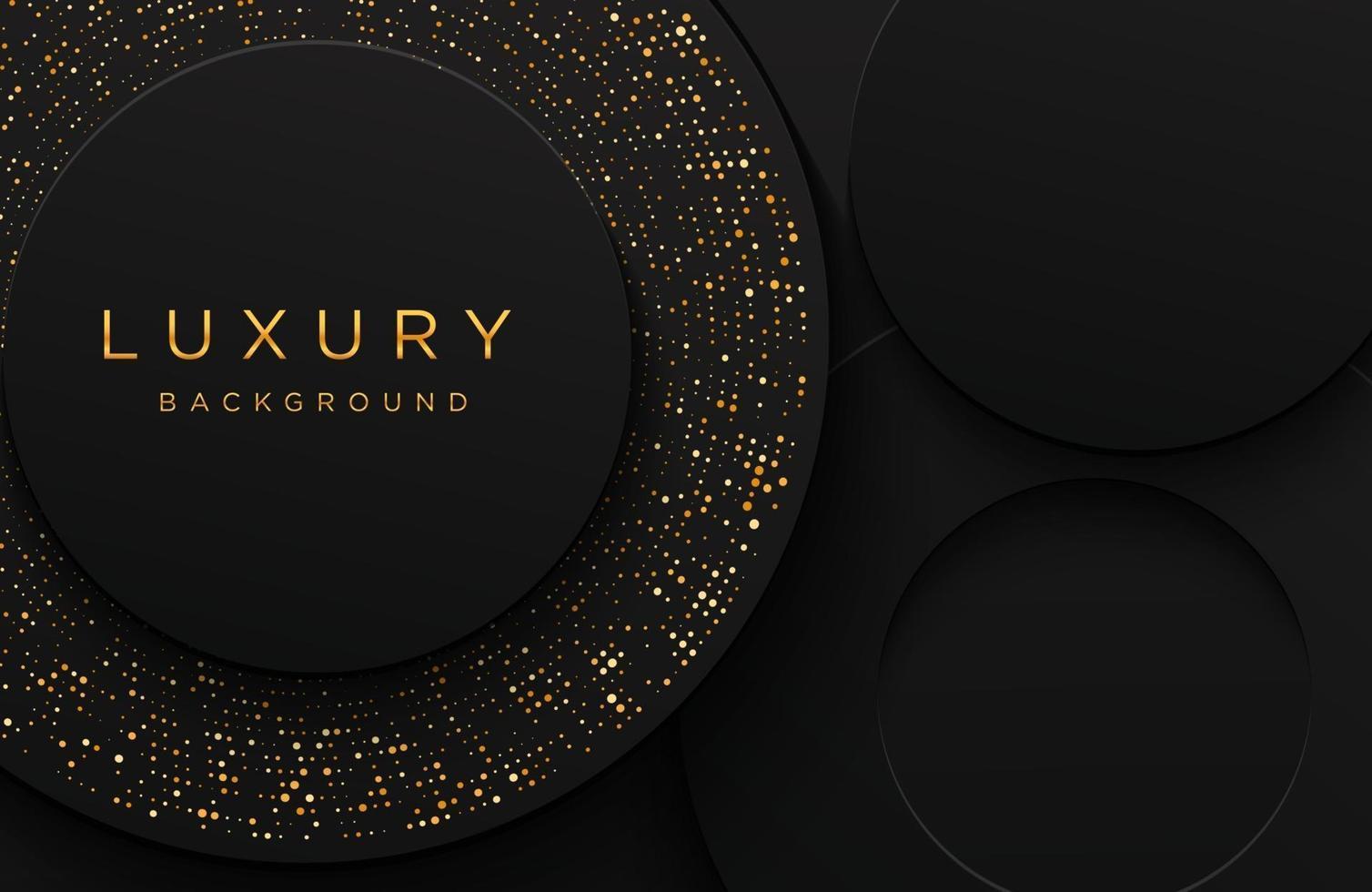 luxe elegante 3D-vorm achtergrond met glinsterende goud gestippelde patroon geïsoleerd op zwart. abstracte realistische papercut achtergrond. elegante sjabloon vector
