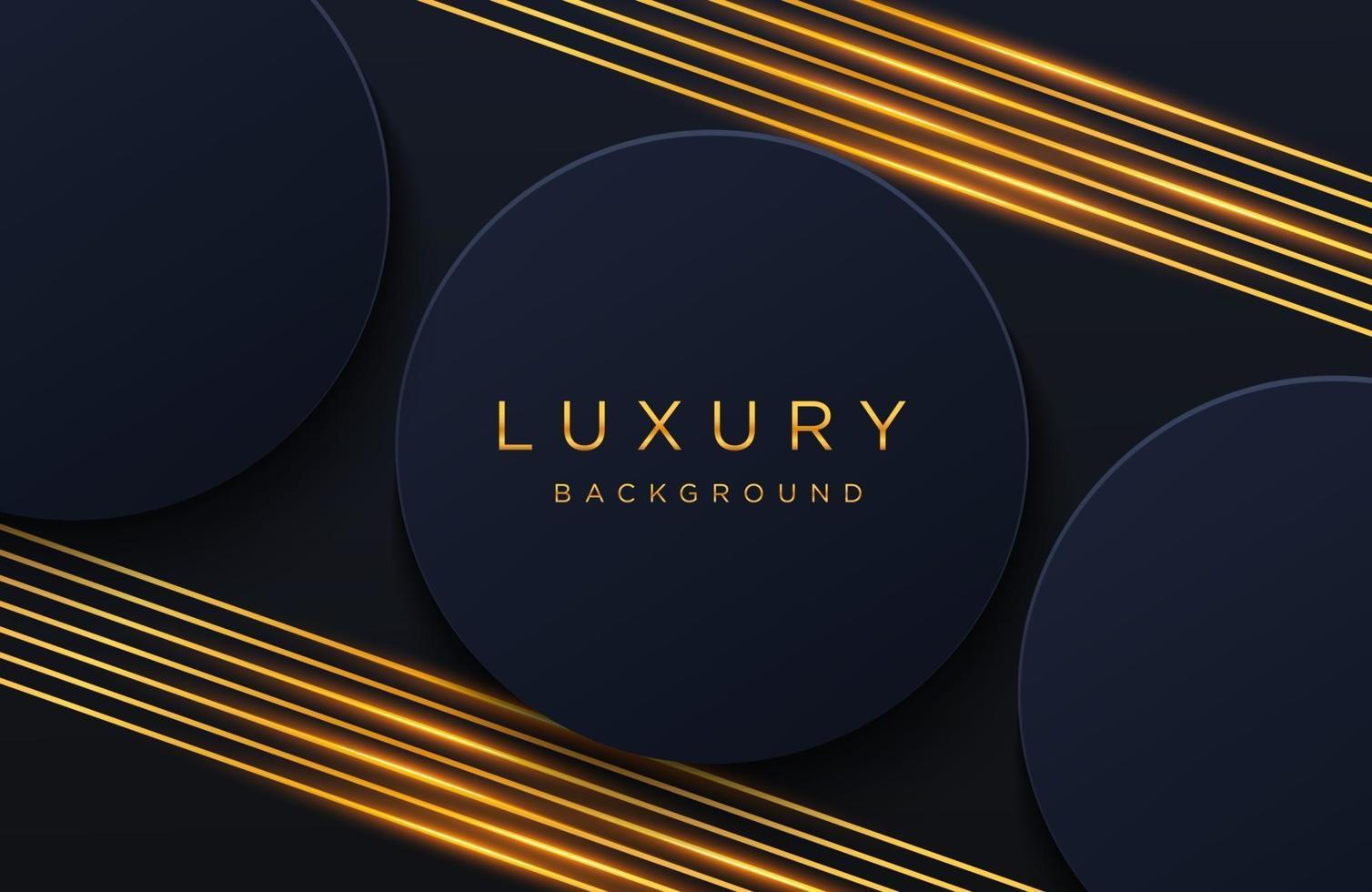 luxe elegante achtergrond met glanzend gouden lijnenpatroon geïsoleerd op zwart. abstracte realistische papercut achtergrond. elegante voorbladsjabloon vector