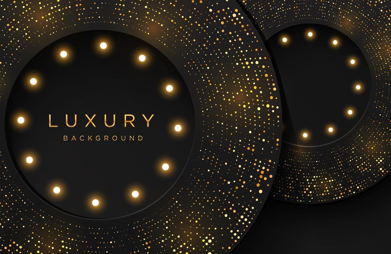 luxe elegante achtergrond met glanzend goud gestippeld patroon en gloeilamp geïsoleerd op zwart. abstracte realistische papercut achtergrond. elegante sjabloon vector
