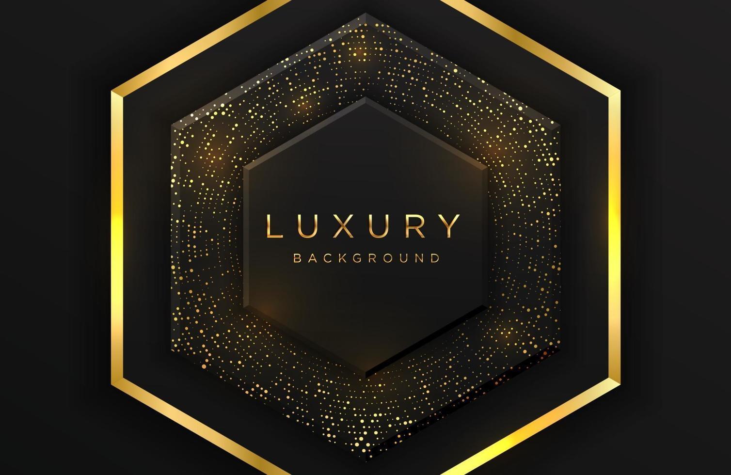 luxe elegante 3d zeshoekige vorm achtergrond met glinsterende goud gestippelde patroon en lijnen geïsoleerd op zwart. abstracte realistische zwarte papercut achtergrond. elegante sjabloon vector