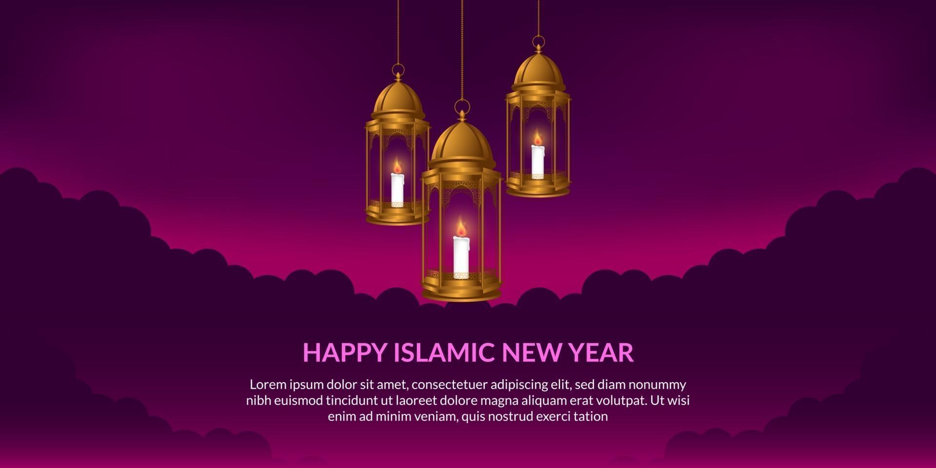 islamitisch nieuwjaar. gelukkige muharram. hangende fanous Arabische gouden lantaarn met paarse achtergrond. vector