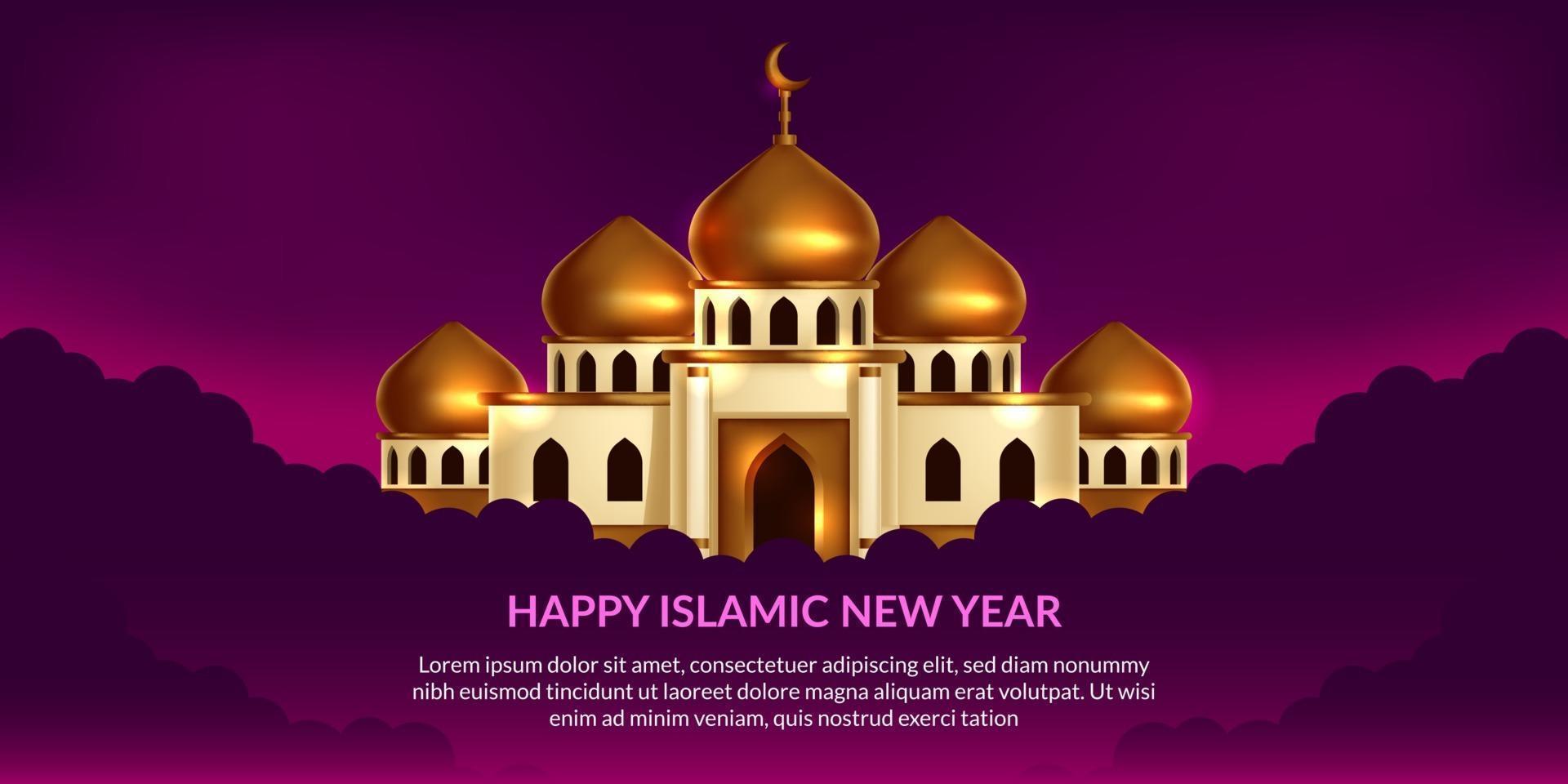islamitisch nieuwjaar. gelukkige muharram. illustratie van gouden koepel moskee met paarse achtergrond. vector