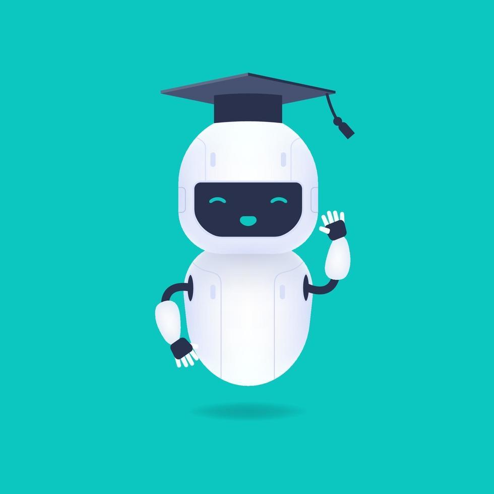 wit vriendelijk robotkarakter. afgestudeerd schattig en glimlach ai robot met afstuderen pet. machine learning concept. vector