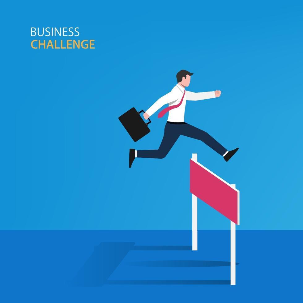 zakenman die op het obstakelconcept springt. zakelijke symbool vectorillustratie vector