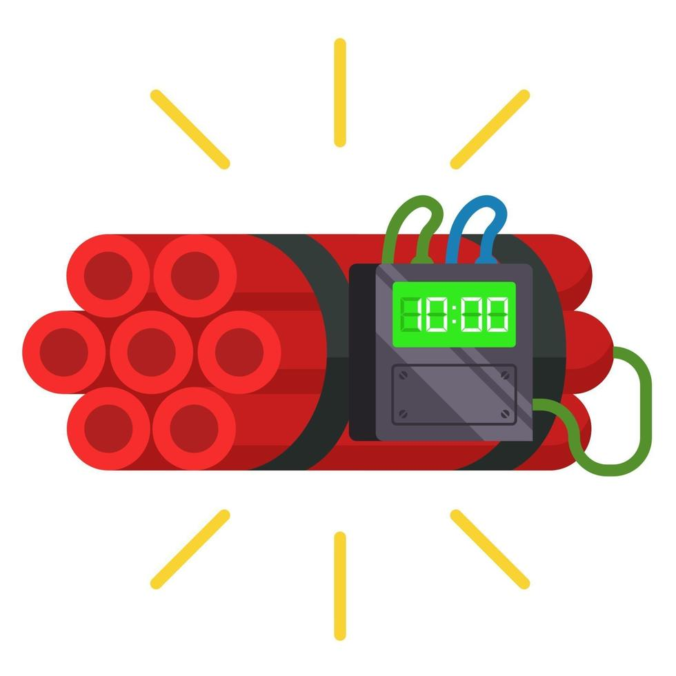 dynamietstokken met een timer erop. zelfgemaakte bom. platte vectorillustratie. vector