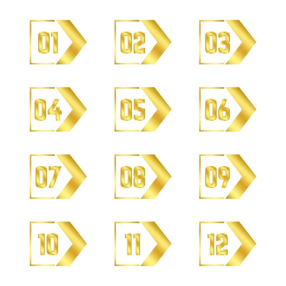 gouden pijl opsommingstekens collectie vector