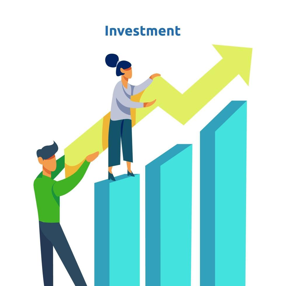 financieringsprestaties van return on investment roi. inkomen salarisverhoging concept illustratie met mensen karakter en pijl. bedrijfswinstgroei, verkoopgroei margeopbrengst met dollarteken vector