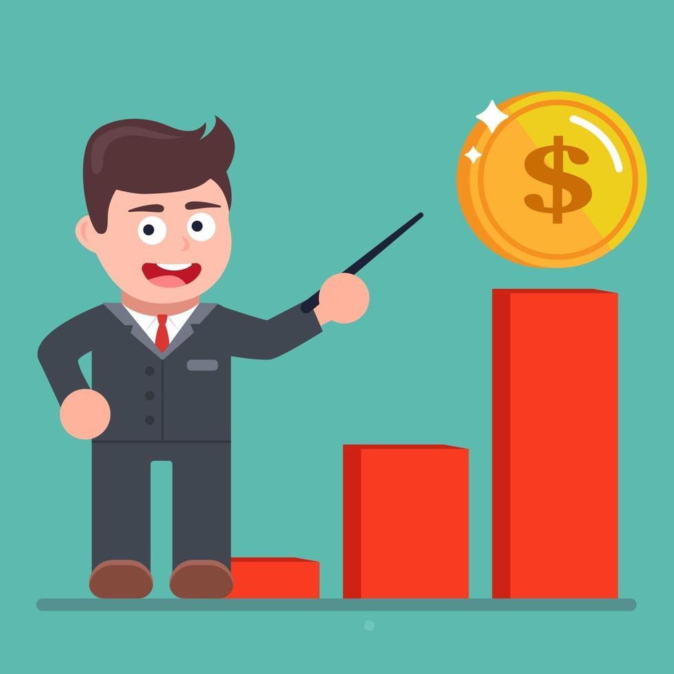 grafieken van de groei van contant inkomen. manager wijst naar een grafiek. platte vectorillustratie. vector