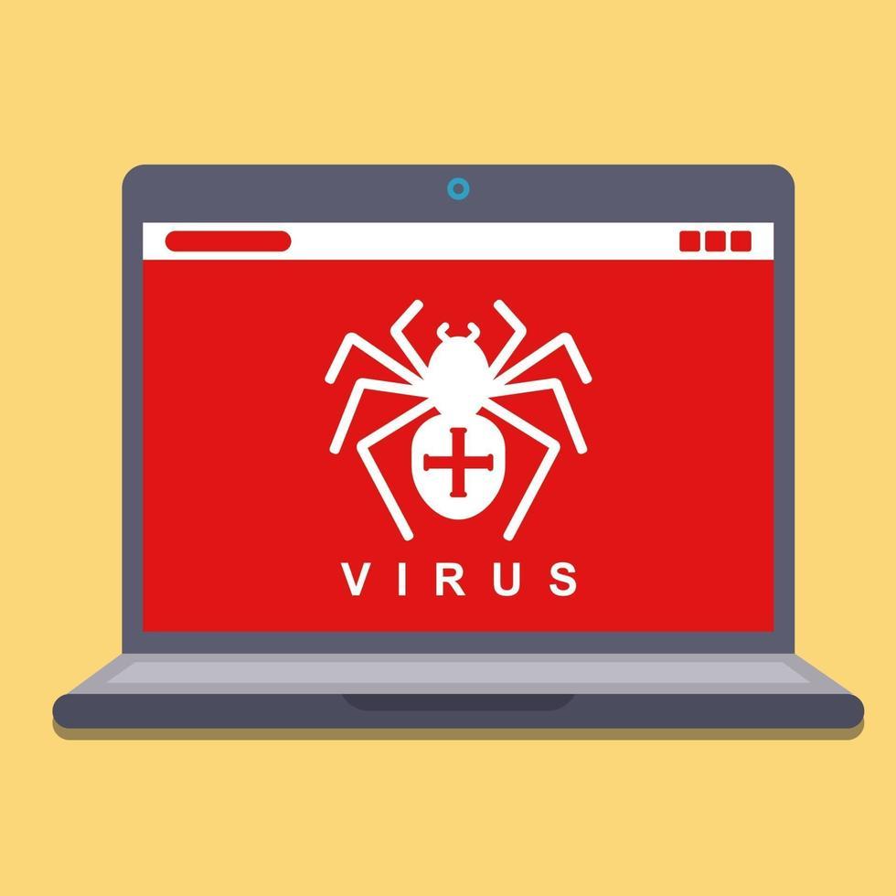 computervirus op een laptop. hacken spyware. platte vectorillustratie vector