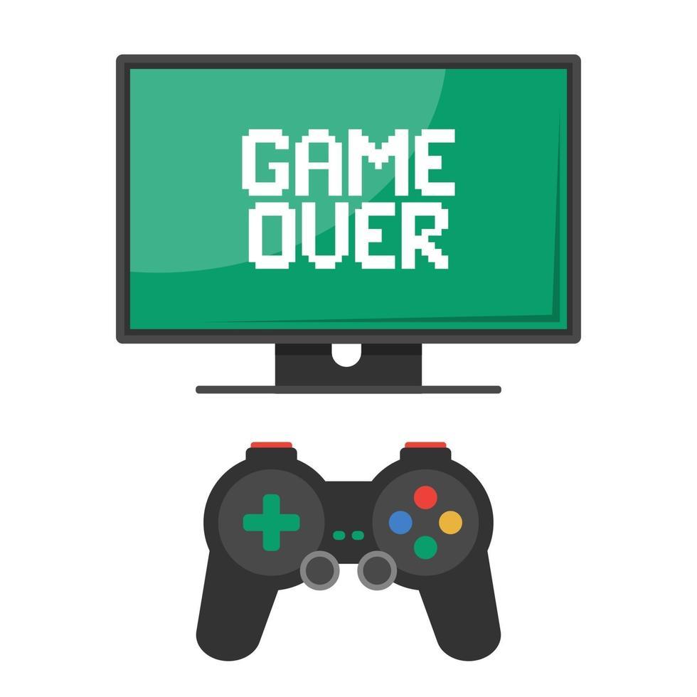 mij troosten. joystickbediening met monitor. inscriptie game over. platte vectorillustratie vector