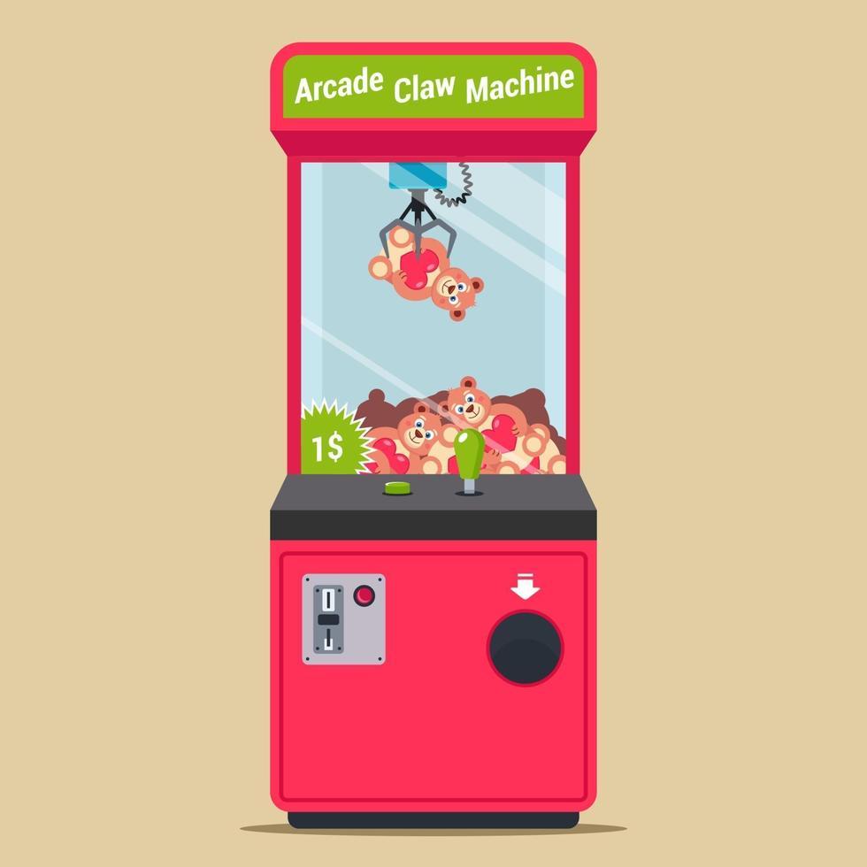 arcade met een haak en pluchen speelgoed. automaat in een winkelcentrum voor kinderen. platte vectorillustratie. vector